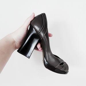 Dolce & Gabbana   Capra Peep Toe Leather Pumps